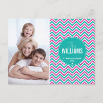 PHOTO HOLIDAY CARD chevron glitter pink jade green