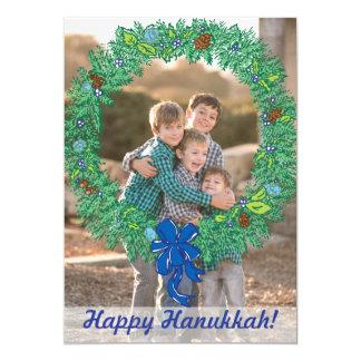 Photo Holiday Card: Happy Hanukkah Wreath Photo Card