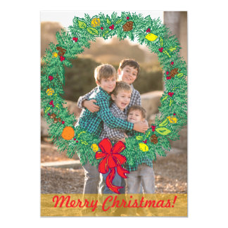 Photo Holiday Card: Merry Christmas Wreath Photo 5x7 Paper Invitation Card