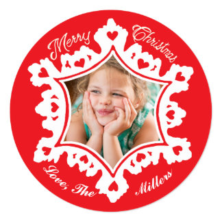 Photo Holiday Card: Red Merry Christmas Snowflake Card