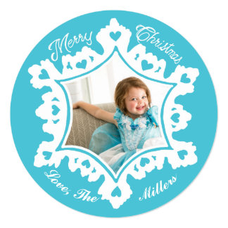 Photo Holiday Card: Turquoise Christmas Snowflake Card