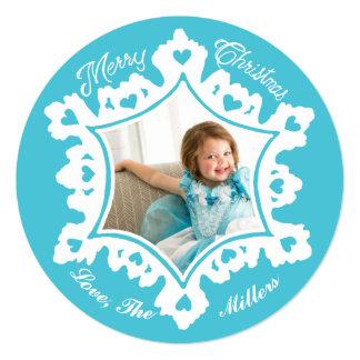 Photo Holiday Card: Turquoise Christmas Snowflake Card