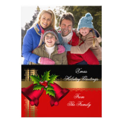 Photo Holiday Christmas Greetings Gold Red Black Custom Invite