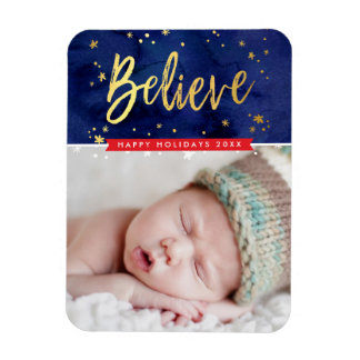 PHOTO HOLIDAY gold believe magical christmas Magnet