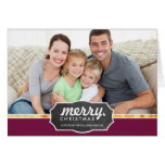 PHOTO HOLIDAY gold foil band chalkboard sign plum Greeting Card