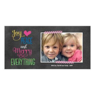 Photo Holiday Greeting Card | Black Chalkboard