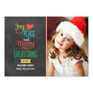 "Photo Holiday Greeting Card | Black Chalkboard 5"" X 7"" Invitation Card"