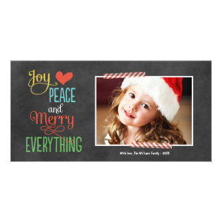 Photo Holiday Greeting Card | Black Chalkboard Personalized Photo Card