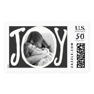 Photo Holiday Large Postage: JOY Chalkboard Photo Postage