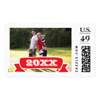 Photo Holiday Large Postage: Red Banner YEAR Photo Postage Stamp