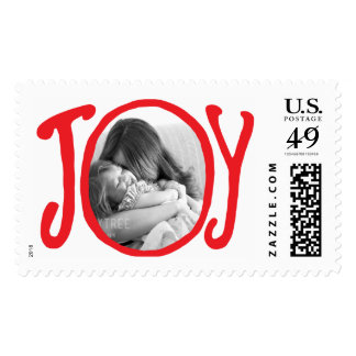 Photo Holiday Large Postage: Red JOY Frame Photo Postage