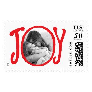 Photo Holiday Large Postage: Red JOY Frame Photo Postage