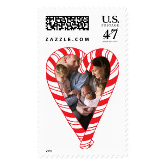 Photo Holiday Large Stamp: Candy Cane Heart Photo Postage