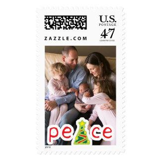 Photo Holiday Large Stamp: Peace Christmas Tree Postage