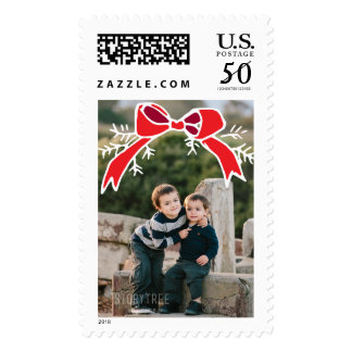 Photo Holiday Large Stamp: Rustic Bow Photo Postage