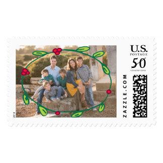 Photo Holiday Large Stamp: Wreath Foliage Photo Postage