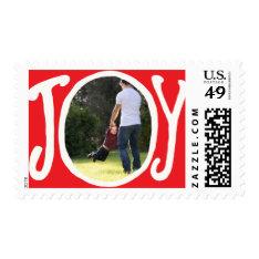 Photo Holiday Medium Postage: Joy Frame Photo Postage at Zazzle