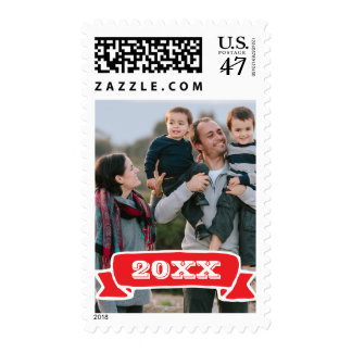 Photo Holiday Medium Postage: Red Banner YEAR Postage