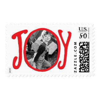 Photo Holiday Medium Postage: Red JOY Frame Photo Postage