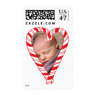 Photo Holiday Medium Stamp: Candy Cane Heart Photo Postage