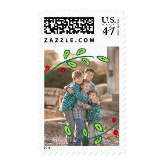 Photo Holiday Medium Stamp: Festive Foliage Photo Postage