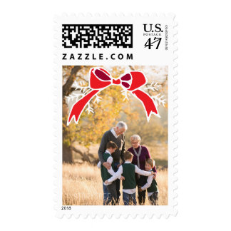Photo Holiday Medium Stamp: Rustic Bow Photo Postage