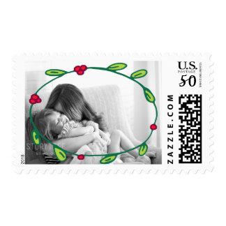 Photo Holiday Medium Stamp: Wreath Foliage Photo Postage