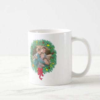 Photo Holiday Mug: Merry Christmas Wreath Coffee Mug
