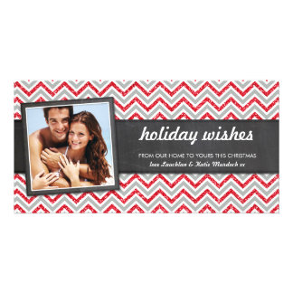 PHOTO HOLIDAY retro chevron red glitter gray Card