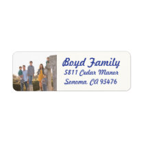 Photo Holiday Return Address Labels: Blue & White Label