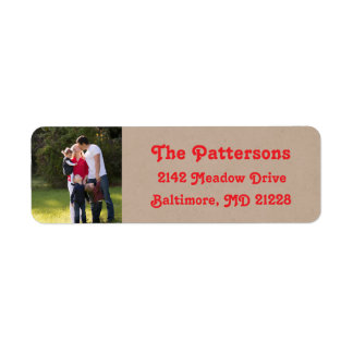 Photo Holiday Return Address Labels: Kraft Colored Label