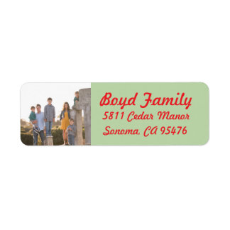 Photo Holiday Return Address Labels: Red & Green Label