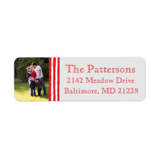 Photo Holiday Return Address Labels: Striped Photo Label