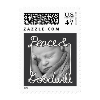 Photo Holiday Small Postage: Chalkboard Peace Postage