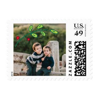 Photo Holiday Small Postage: Festive Foliage Photo Postage Stamp