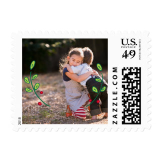Photo Holiday Small Postage: Green Festive Foliage Stamp