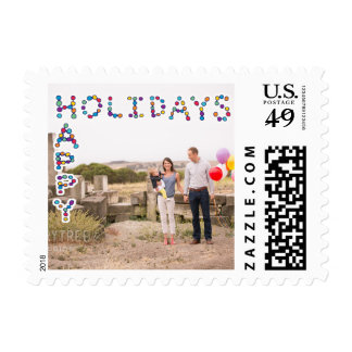 Photo Holiday Small Postage: Happy Holidays Lights Postage