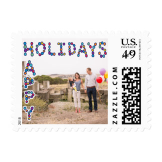 Photo Holiday Small Postage: Happy Holidays Lights Postage Stamp