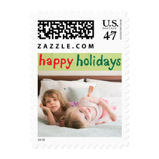 Photo Holiday Small Postage: Happy Holidays Postage Stamp