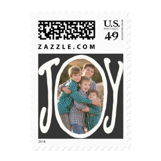 Photo Holiday Small Postage: JOY Chalkboard Photo Postage Stamp