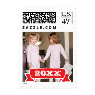 Photo Holiday Small Postage: Red Banner YEAR Photo Postage