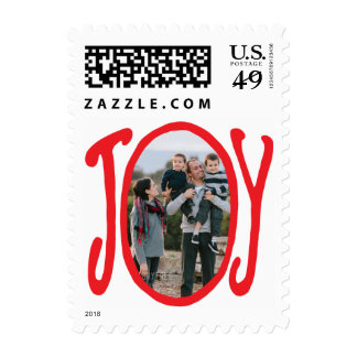 Photo Holiday Small Postage: Red JOY Frame Photo Postage