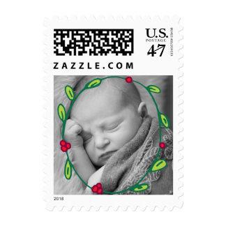 Photo Holiday Small Postage: Wreath Foliage Photo Postage Stamp