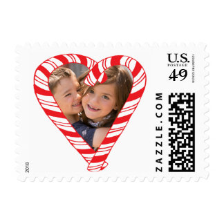 Photo Holiday Small Stamp: Candy Cane Heart Frame Postage