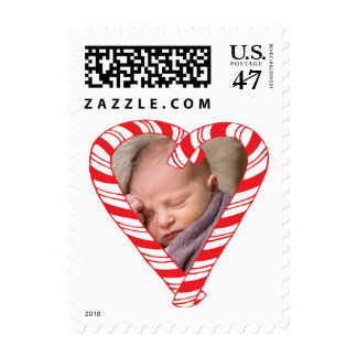Photo Holiday Small Stamp: Candy Cane Heart Photo Postage