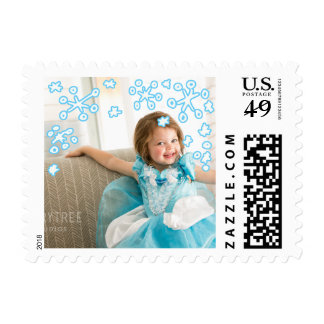 Photo Holiday Small Stamp: Falling Snowflakes Postage
