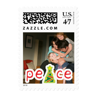 Photo Holiday Small Stamp: Peace Christmas Tree Postage Stamp