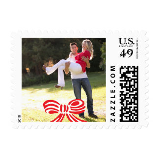 Photo Holiday Small Stamp: Red & White Bow Postage Stamp
