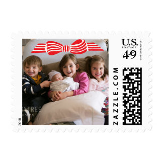 Photo Holiday Small Stamp: Ribbon Bow Photo Postage Stamp