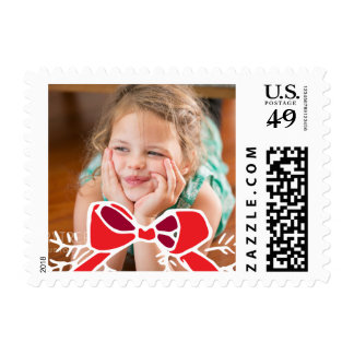 Photo Holiday Small Stamp: Rustic Bow Ribbon Photo Postage